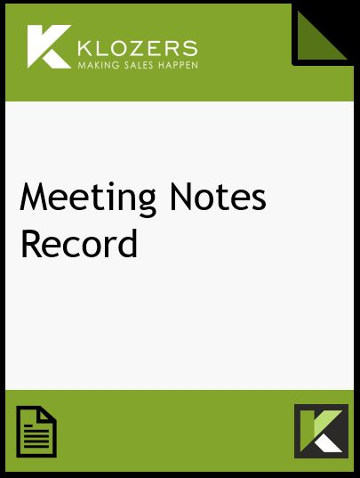 Sales Meeting Notes Record