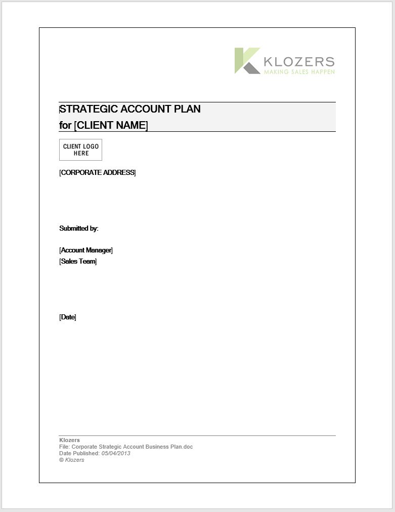 B2B Sales tools - Key Account Management Plan Template