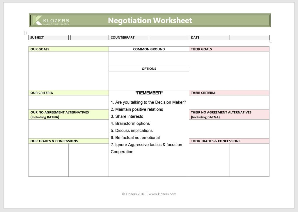 Sales Tools - Sales Negotiation Template