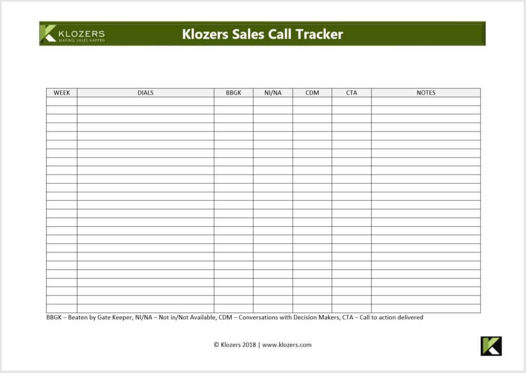 B2B Sales tools - Sales Call Tracker