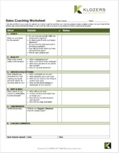 B2B Sales tools - Sales Coaching Worksheet Tool