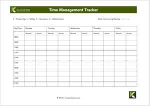 B2B Sales tools - Time Management Tracker File