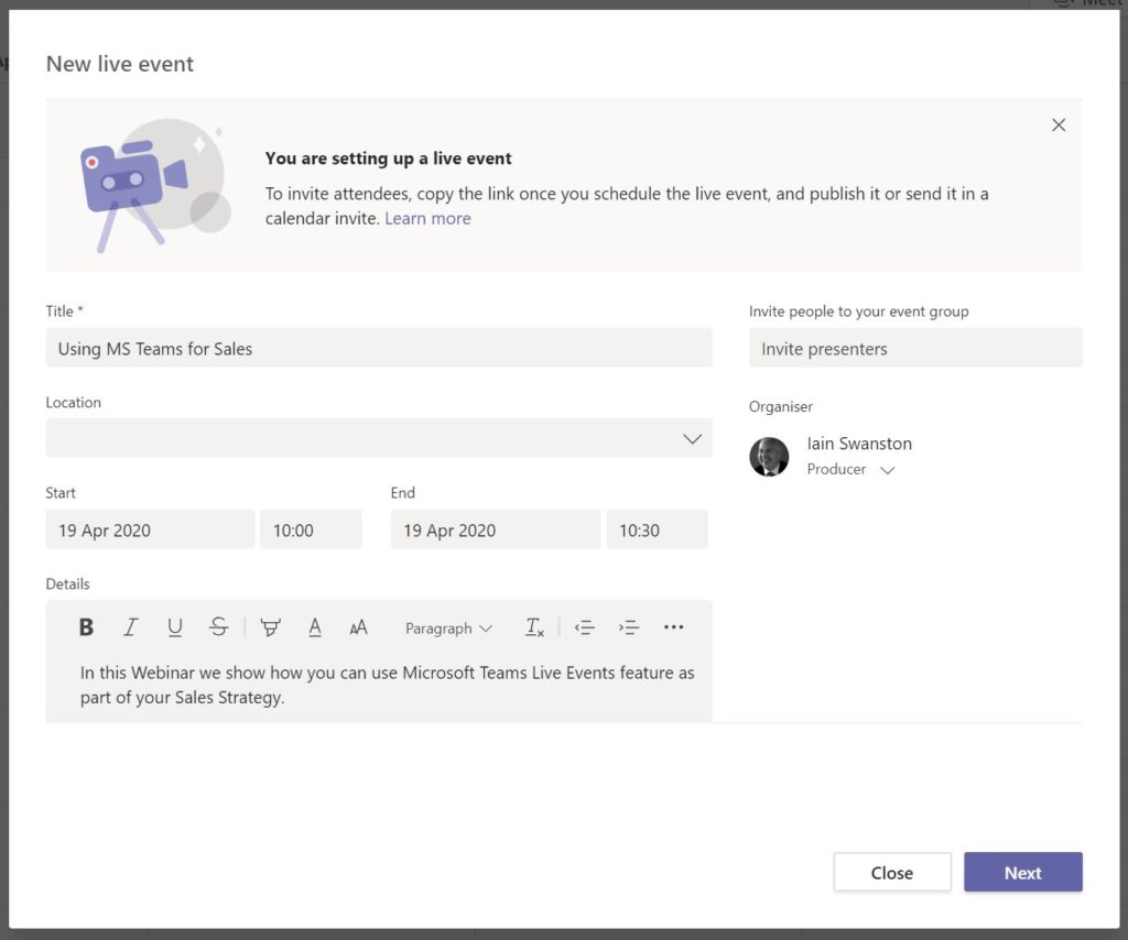 Using MS Teams for Sales - Live Event