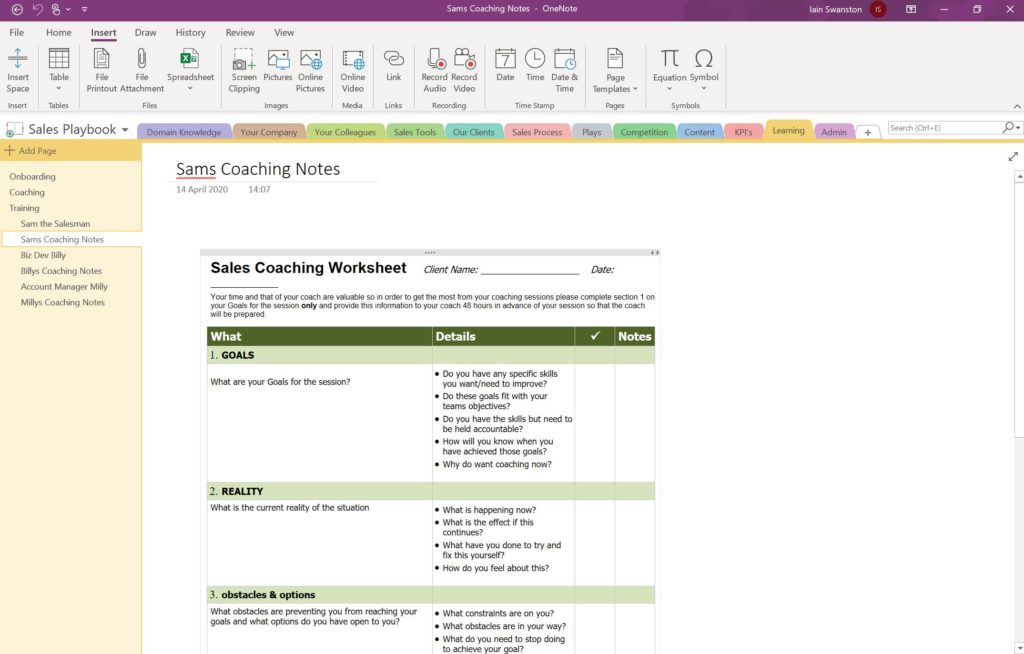 Using OneNote for Sales Management - Coaching Notes