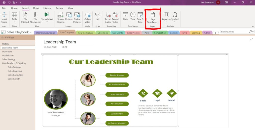 Using OneNote for Sales Management - Page Templates